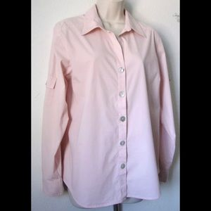 Chicos Design Pink Long Sleeves Top Blouse Small